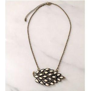 Modcloth Ivory Leaf Pendant Necklace